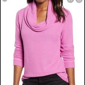 Caslon waffle knit pink rosebud cowl neck pullover